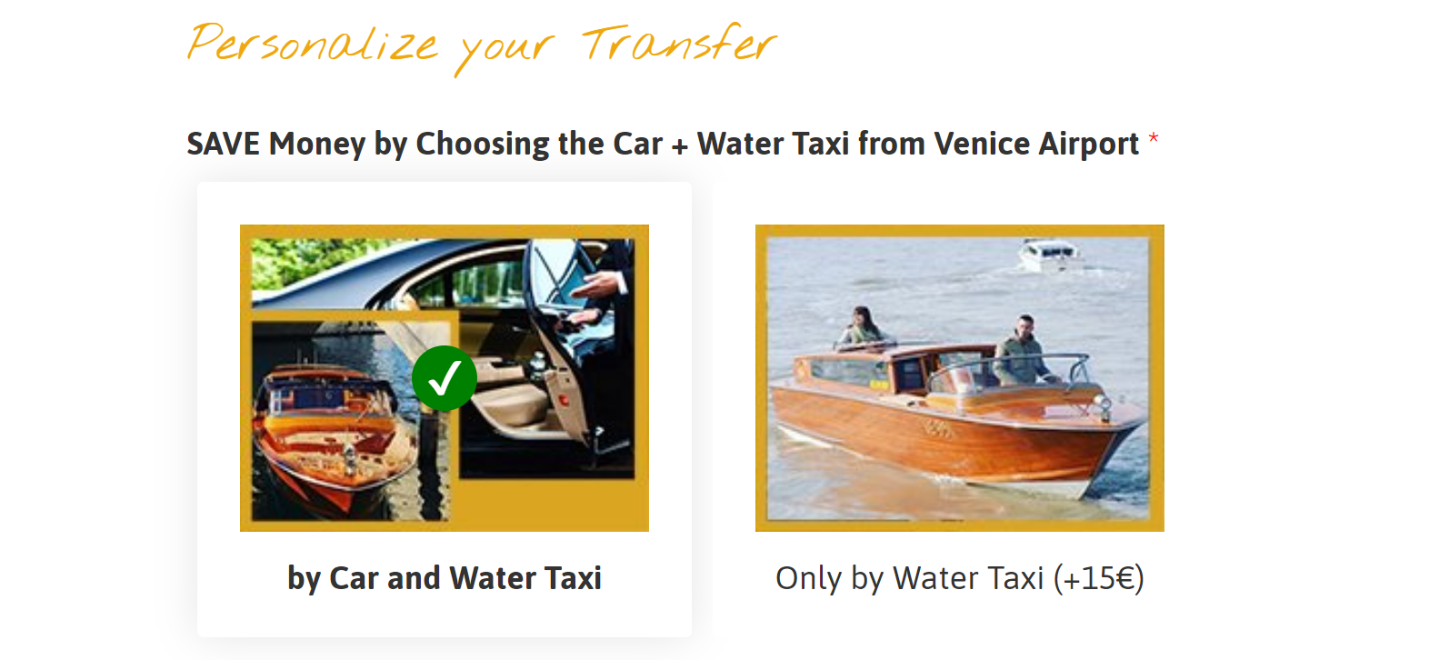 personalize your water taxi transfer